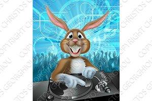 Cartoon Easter Party Bunny DJ