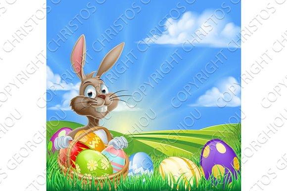 Cartoon Easter Bunny Scene