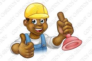 Cartoon Plumber Handyman Holding Punger