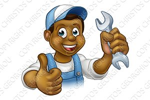 Mechanic or Plumber Handyman With Spanner