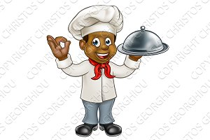 Black Chef Cartoon Character