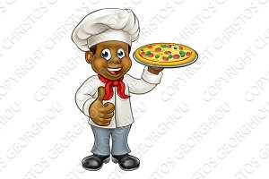 Black Pizza Chef Cartoon Character