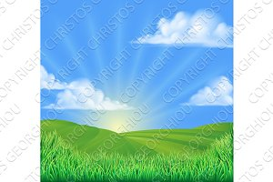 Rolling Hills Field Sun Background