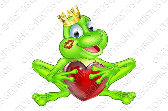 Frog Prince With Crown And Heart