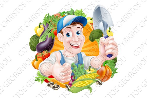 Cartoon Vegetables Gardener