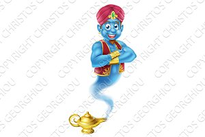 Cartoon Genie and Lamp