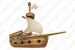 Cartoon Sailing Ship