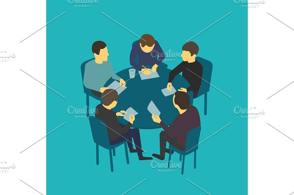 Small company table talks. Team business people meeting conference in Illustrations