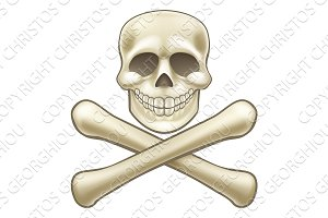 Pirate Skull and Crossbones Halloween Cartoon
