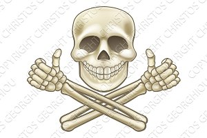 Cartoon Skull and Crossbones Pirate Thumbs Up