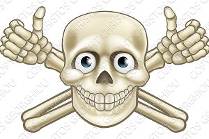 Cartoon Pirate Skull and Crossbones Thumbs Up