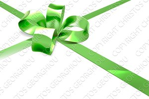 Green Ribbon and Bow Gift Background