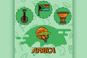Africa flat concept icons
