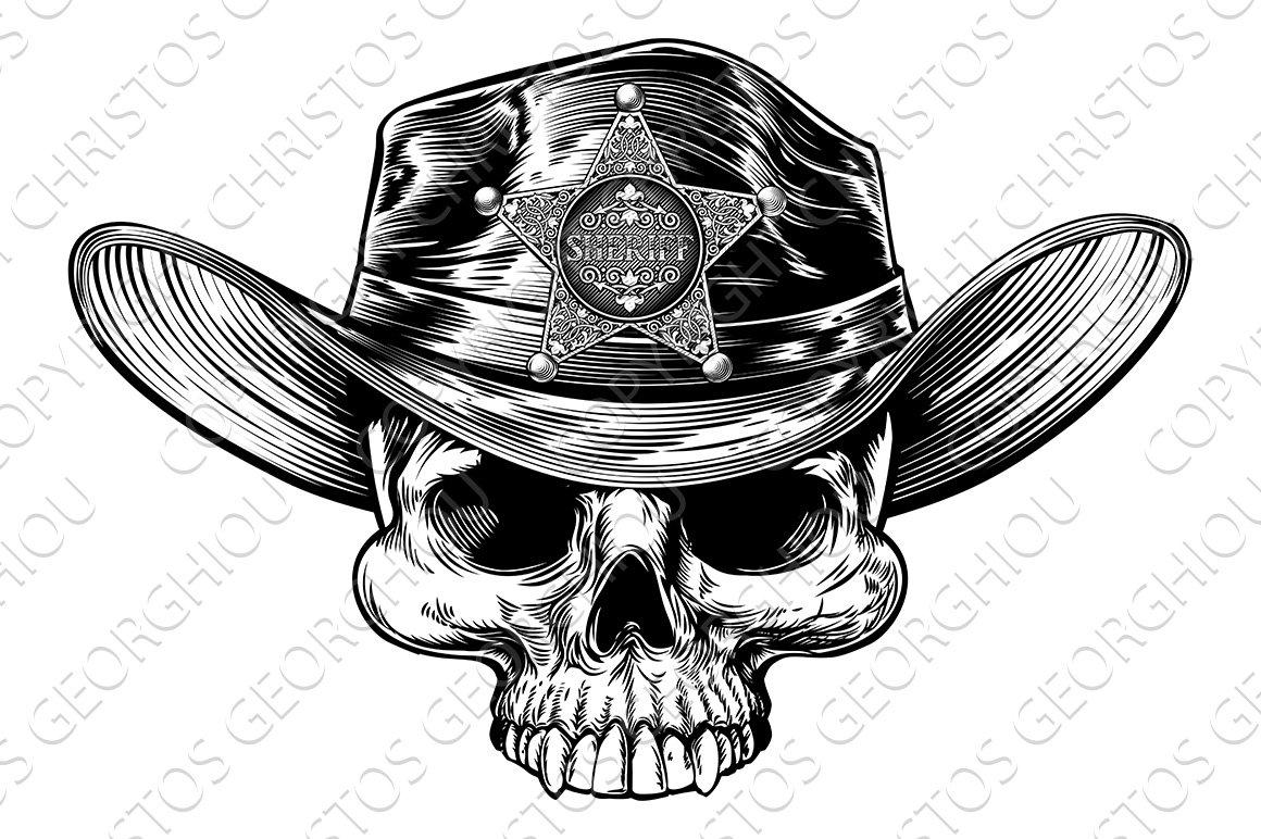 Skull Cowboy Hat Sheriff Illustrations Creative Market