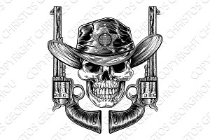 Sheriff Cowboy Skull and Pistols