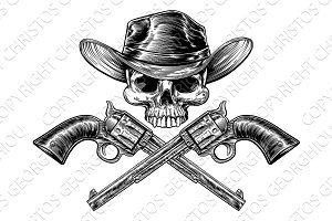 Sheriff Star Cowboy Hat Skull and Pistols