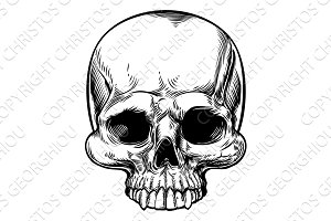 Skull Vintage Retro Woodcut Etched Engraved Style