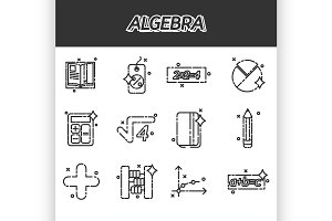 Algebra icons set