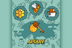 Apiary flat icons set.