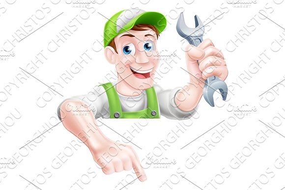 Cartoon Plumber Or Mechanic Pointing