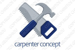 Saw and Hammer Carpenter Concept