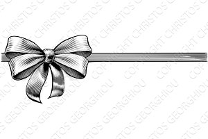 Ribbon Gift Bow Vintage Engraved Etching Woodcut