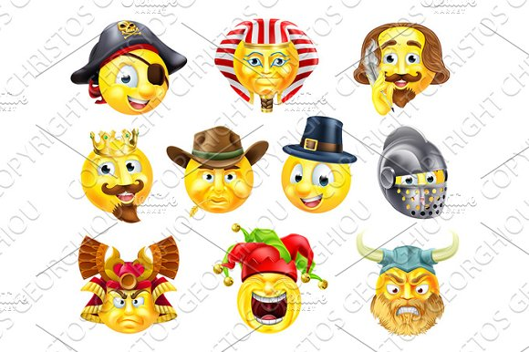 History Emoji Emoticon Set