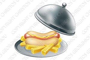Hotdog and Fries on Platter