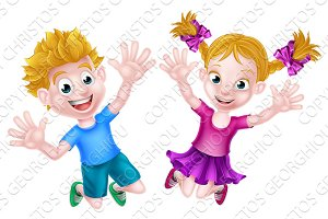 Happy Cartoon Boy and Girl Jumping