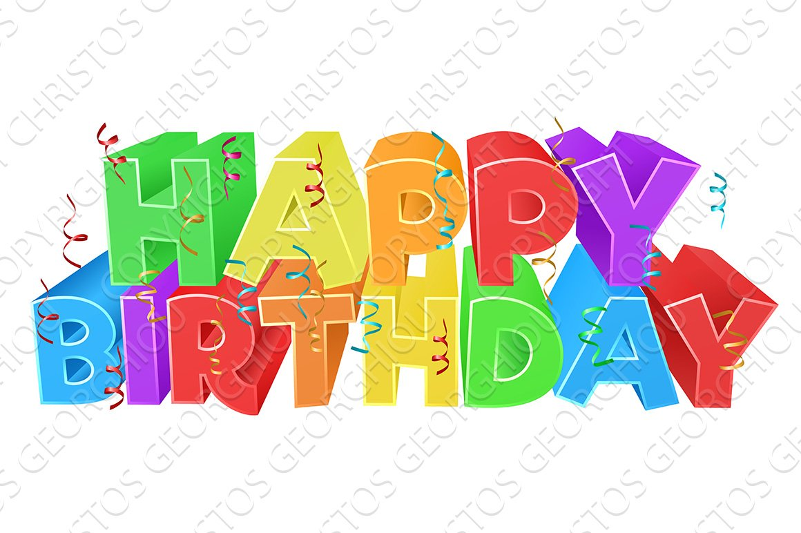 happy birthday word text sign textures creative market