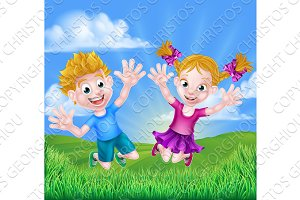 Happy Cartoon Children Jumping