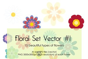 Floral Set Vector #1