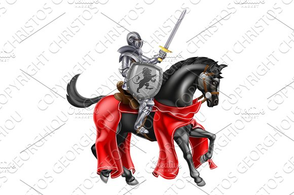 Sword And Shield Knight On Horse