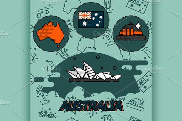 Australia Flat Concept Icons