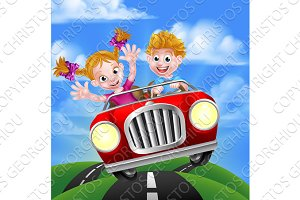 Cartoon Kids Driving Car