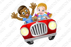 Cartoon Boy and Girl In Car