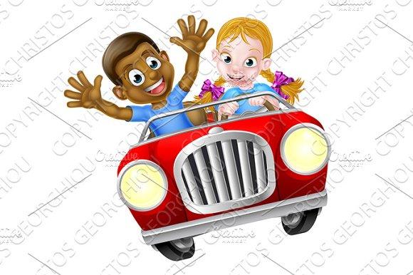 Cartoon Boy And Girl In Car
