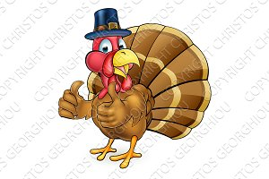 Cartoon Thanksgiving Turkey Bird in Pilgrims Hat