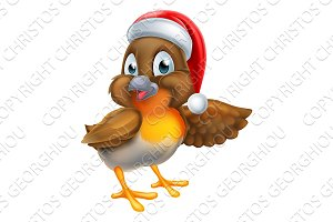 Robin Bird Christmas Cartoon