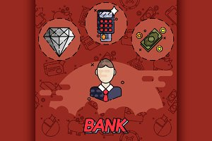 Bank flat icons set