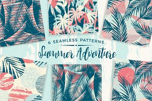 Summer Adventure. 6 seamless pattern