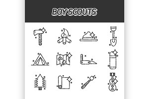 Boy scouts concept icons