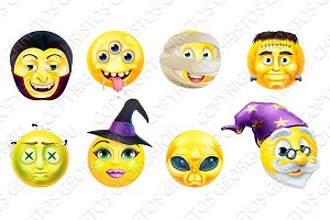 Halloween Emoticon Icon Set