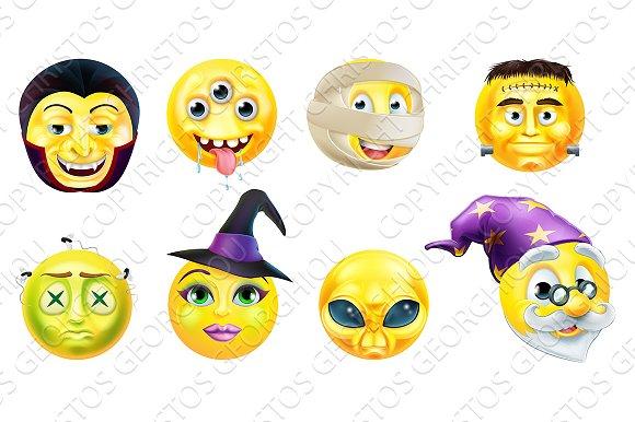 Halloween Emoticon Icon Set