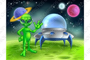 Alien and Flying Saucer on Moon