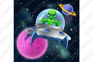 Alien UFO Flying Saucer in Space