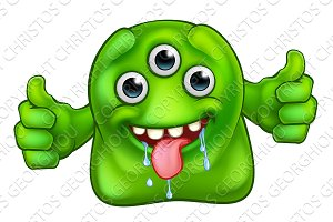 Green Cute Alien Monster