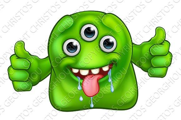 Green Cute Alien Monster
