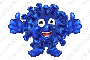 Virus Bacteria Alien or Monster Cartoon Character