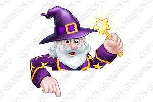 Cartoon Wizard Pointing